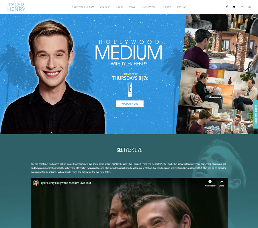 Hollywood Medium with Tyler Henry website redesign by Design Serious.