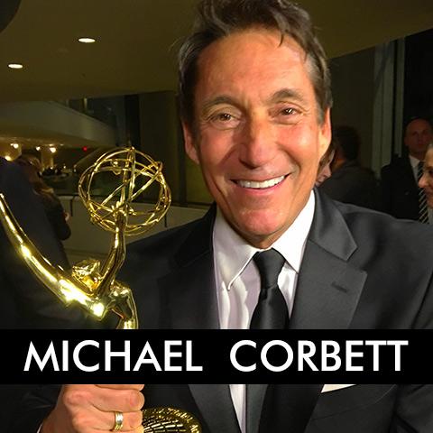 Michael Corbett Holding an Emmy